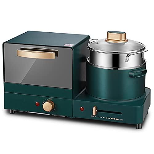 ASDFGH Toaster Horno, Máquina De Desayuno Mini Horno Hogar Multifuncional Sandwich Fabricante De Pan Vapor De Alimentos Diseño Compacto 1180W Herramientas De Cocina Multiusos Verde Hoben freidora