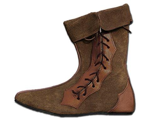 CP-Schuhe Mittelalter Schuhe Halbstiefel aus Rauhleder (41, braun)