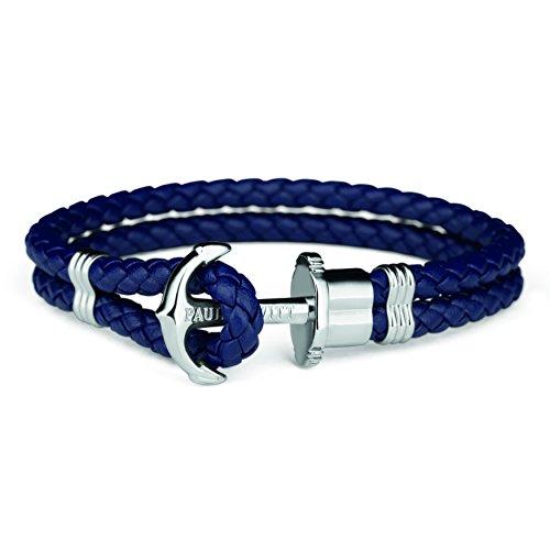 PAUL HEWITT Anchor Bracelet for Men and Women PHREP - Anchor Unisex Bracelet Leather (Navy Blue), Sailcloth Bracelets for Men and Women with Anchor Jewelry Made of Stainless Steel (Silver)