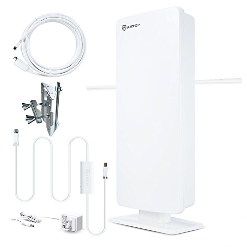 Antop Outdoor TV Antenna, Multidirectional Amplified HDTV Antenna Enhance VHF with 85 Miles Reception, Support UHF/VHF 4K 1080P Channels, Perfect for Outdoor, Indoor and RV Use-33ft Coax Cable