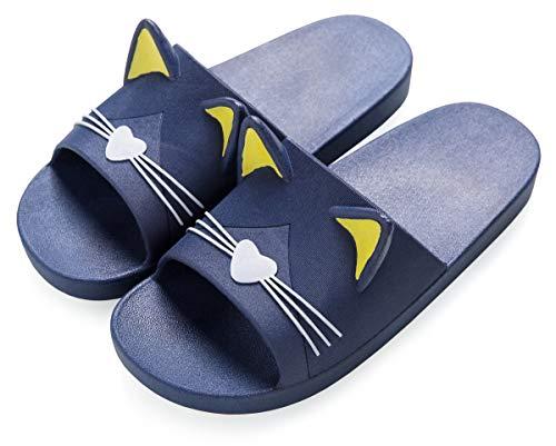 Vunavueya Mujer Hombre Sandalias y Chanclas Zapatos de Playa y Piscina Zapatillas Baño de Estar por Casa Verano Azul(Cat) 39/40 EU/40-41CN