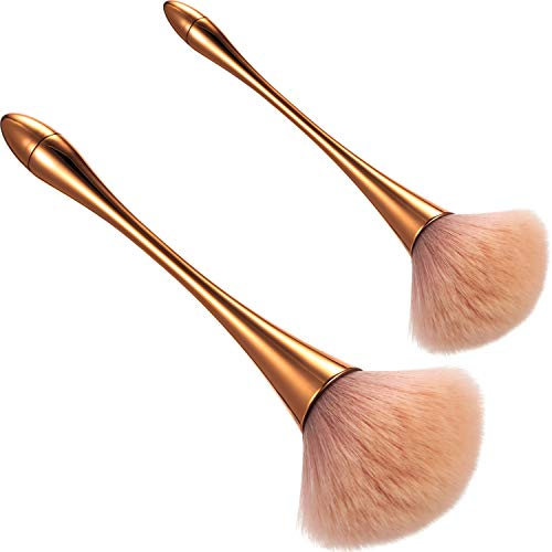 2 Pieces Large Mineral Powder Brush Nail Brushes Kabuki Makeup Brushes Soft Fluffy Foundation Brush Blush Brush for Large Coverage Loose Powder Bronzer Blush Blending Buffing Rose Gold