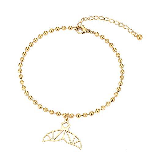 U/N Beaded Whale Tail Anklet Bracelet Women's Beach Ankle Bracelet-1