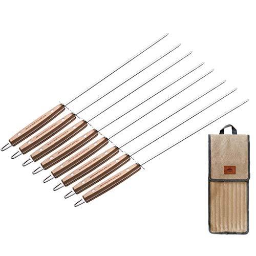 8 pinchos para barbacoa de acero inoxidable, extra largos de 47 cm, mango de madera de haya, incluye 1 bolsa de transporte para 8 brochetas, alta calidad