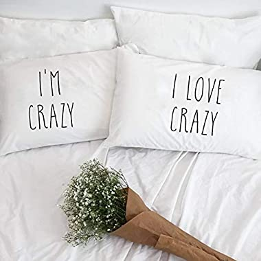 Georgia Barnard Pack of 2 I Am Crazy I Love Crazy Couple Pillow Case Pillowcases for Him Her Boyfriend Girlfriend Husband Wife 12 x 20 Inch Lumber Pillow Cover