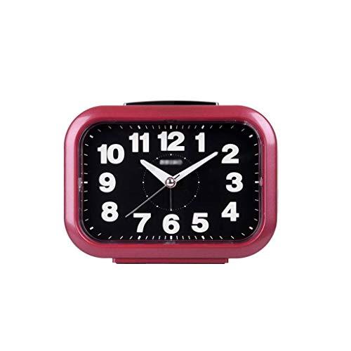 Wekker Mechanische Loud Lovely Silent Snooze Nachtlampje Kleine Wekker, Loud Ringtone Student Lichtgevende Clock Bedside Child Slaapkamer R/20/04/14 (Color : Red)