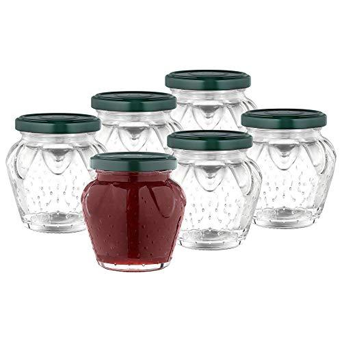 MamboCat 6-delige set aardbeiglas 230 ml + groene deksel TO63 I mooie jampotjes voor jam, honing & gelei I inkoken & conserveren I inmaakaccessoires