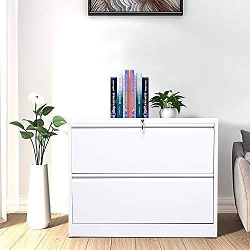 2 Drawer File Cabinet for Home Office Stainless Steel Metal Lateral Filing Cabinet Lockable Large Capacity Metal Office File Cabinets with 2 Keys and 4 Adjustable Hanging Bars White