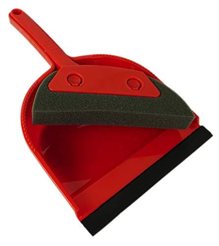 Novaliv Schuimstofveeggarnituur I rood I schep en bezem I schuimrubber handveeger hand borstel handveegset dust pan