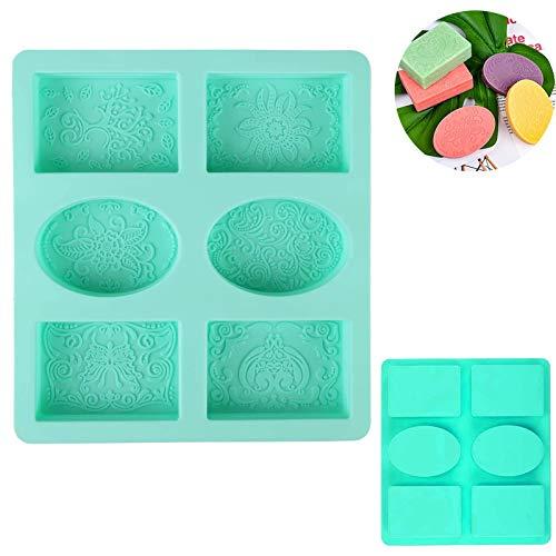 Xinmeng Silikonform Seife 6-Cavity silikonform Seife DIY Formen Seifenform Rechteckig und Oval Handgemachte seifen silikonform für Seife, Schokolade, Kuchen, Brot, Kekse (Grün)