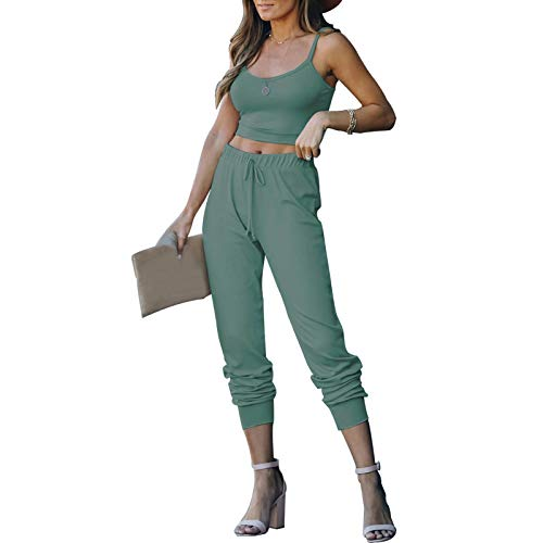 ACOSAP Women Casual Outfits Solid 2 Piece Stretch Crop Tank Top and Long Pants Sweatsuits Tracksuits (Gray Green, S)