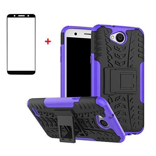 FullProtecter LG X Power2 Hülle,Bumper Cover Schutz Tasche Handyhülle Schutzhülle Silikon TPU+PC Hardcase für LG X Power2(Lila)+2 Stück Panzerglas Schutzfolie