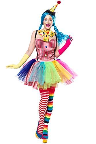 Damen Clown Outfit Kostüm Verkleidung mit Body, Hut, Haarreif, Tutu, Fliege, Strümpfe und Handschuhe in bunt L