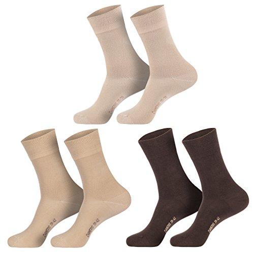6 Paar Damen Socken braun sand beige 39-42