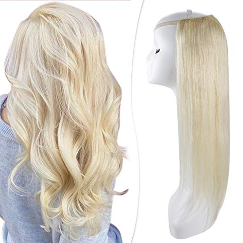 Hetto Parrucca Testa Piena Con Capelli Umani 12 Pollici Parrucca Capelli Nera Donna 613 Bleach Blonde Full Head Wig Virgin Hair U Part Wig 100G Straight Wig