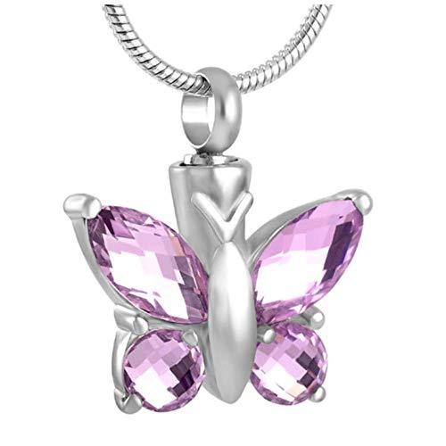 GenericBrands Joyería de cremación de Plumas de Mariposa de Diamantes de imitación de Acero Inoxidable para Mujer para Collar con Colgante de Cenizas