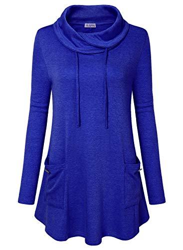 Bulotus Women Tunic Tops Plus Size Cowl Neck Sweatshirt Long Sleeve with Pocket (XX-Large, Dark Blue)
