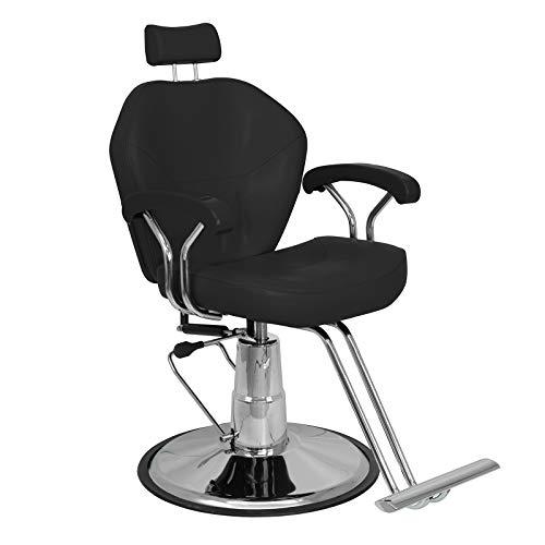 Onof – Silla Hidraulica Giratoria Reclinable Barber Vinil Estetica (Negro)