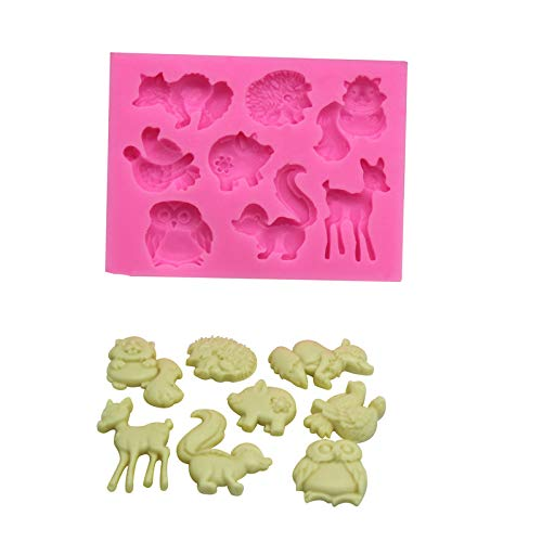 Qinlee Forme Collection d'animaux Silicone Mould Indéformable Ice Cube Chocolate Cake Cupcake Soap Molds DIY 8.7cm*6.5cm*1cm Rose
