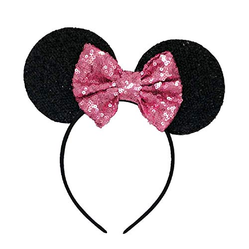 Diadema de orejas de ratón negro - lentejuelas - minnie - lazo rosa - accesorios - disfraz - carnaval - halloween - cosplay - niña - mujer - idea de regalo para cumpleaños