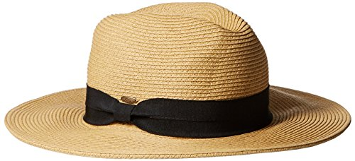 NYFASHION101 Lightweight Solid Color Panama Fedora Sun Hat, Dk NAT/Black