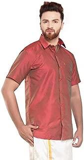 SJS-Men's Half Sleeve Solid Art Silk Shirt (Light Coral, 36)