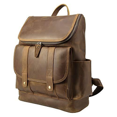 Texbo Vintage Full Grain Cowhide Leather 15.6 Inch Laptop Backpack Travel Office Bag Schoolbag with YKK Metal Zippers