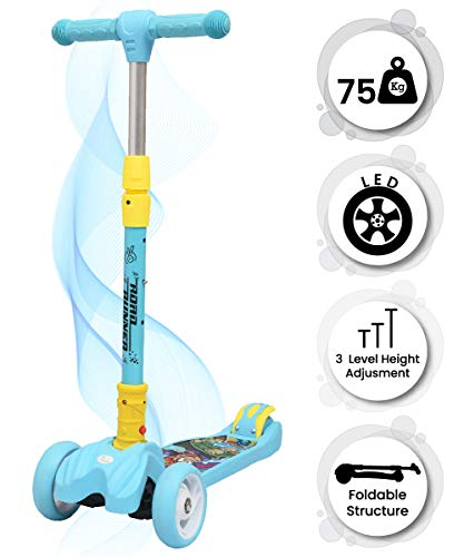R for Rabbit Road Runner Scooter for Kids of 3 to 14 Years Age 3 Adjustable Height, Foldable, LED PU Wheels & Weight Capacity 75 kgs Kick Scooter with Brakes(Blue)