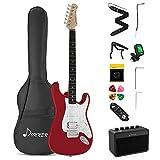 Donner Kit de Guitarra Eléctrica Stratocaster de Tamaño Completo con amplificador, bolsa, capo, correa, cuerda, sintonizador, cable y púas (Rojo, DST-102R)