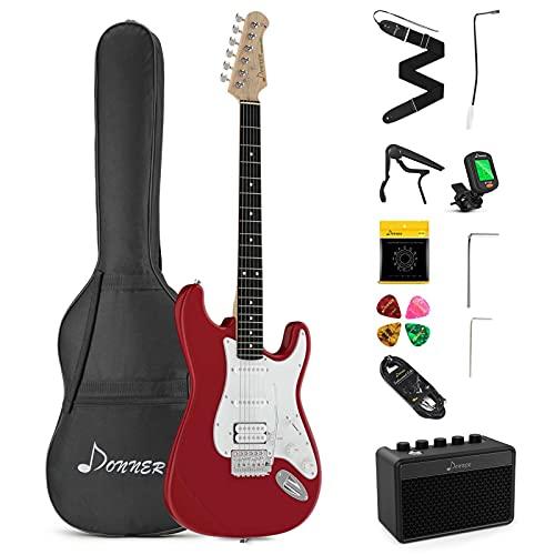 Donner E-Gitarre Set 39 Zoll volle Größe mit Verstärker, Tasche, Capo, Gurt, Saiten, Tuner, Kabel und Plektren (Rot, DST-102R)
