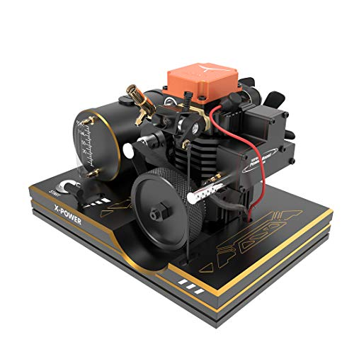 RuiyiF 4 Stroke Methanol Engine Model Kit Assembly for RC Model Car Ship Airplane, DIY Hobby Model Engine Kits to Build for Adults That Run, Mini Desk Engine Model, Educational Toys