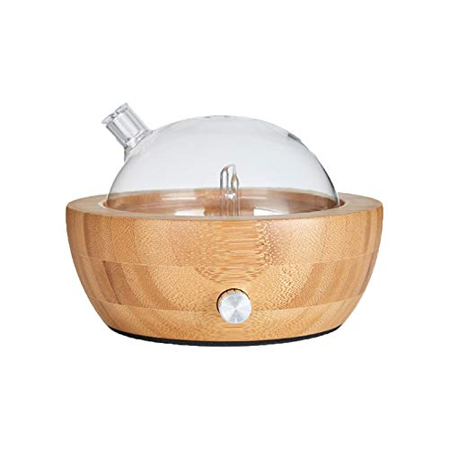 MIZUAN Aromatherapy Humidifiers 150ml Waterless Nebulizing Essential Oil Diffuser Use Best Aromatherapy Beech Wood Glass Colorful Led Light for Home Office/Gift