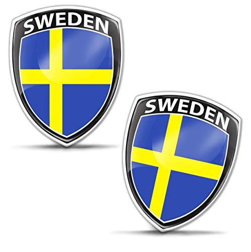 Biomar Labs® 2 x Aufkleber 3D Gel Silikon Abzeichen Stickers Auto Motorrad Fahrrad Fenster Tür PC Handy Tablet Laptop Sweden Schweden Schwedische Swedish Flagge Fahne Flag F 154