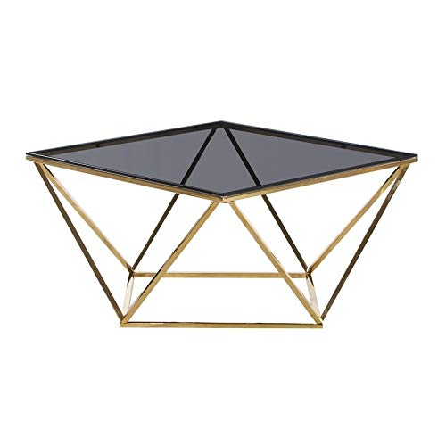 Best Master Angled Square Glass and Stainless Steel Coffee Table in Smoked/Gold