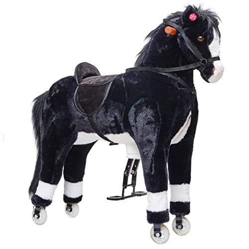 Pink Papaya XXL Reitpferd auf Rollen PACO, 90cm Spielpferd, fahrendes Schaukelpferd bis 100kg belastbar, Spielzeug Plüsch Pferd zum Drauf sitzen mit Sounds