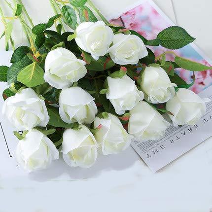 Simulatie Franse Rose Living Room Decoration Bouquet Eettafel Plastic Valse Flower Decoration Wedding Gedroogde Bloemstuk 12st,White bract