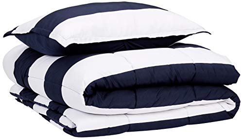 AmazonBasics Comforter Set, Twin / Twin XL, Navy Rugby Stripes, Microfiber, Ultra-Soft
