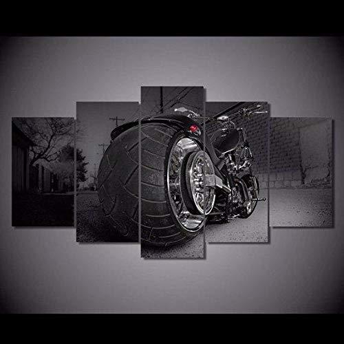VYQDTNR Cuadro en Lienzo 200x100 cm Chopper de la Bici de la Motocicleta Impresión de 5 Piezas Material Tejido no Tejido Impresión Artística Imagen Gráfica Decoracion de Pared Ciudad