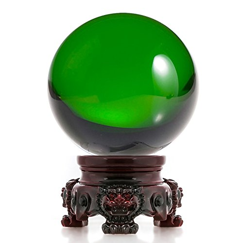 Amlong Crystal 3 inch (80mm) Green Crystal Ball with Redwood Lion Resin Stand and Gift Box for Decorative Ball, Lensball Photography, Gazing Divination or Feng Shui, and Fortune Telling Ball