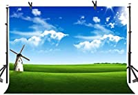 Zhy Green Grass Backdrop 7X5FT Blue Sky Windmill Theme Party Nature Landscape Birthday Party Baby Shower Photography Background YouTube Photo Favors Studio Prop Customize 347