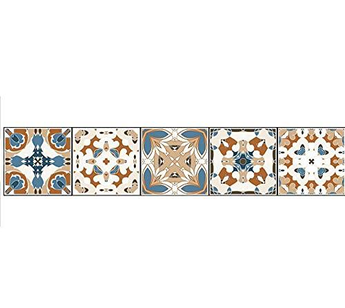Pegatinas de azulejos Striscia di illustrazione di fiori in stile europeo Azulejos Pegatina para baños cocinaImpermeable autoadhesivo Borde decorativo 20X100cmX1pcs