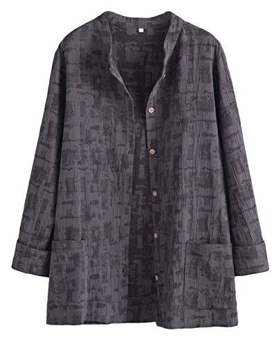 Mallimoda Damen Leinenblusen Cardigan Strickjacke Button-Down Langarmshirt Kurzmantel mit Taschen Grau XXL