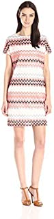 Sharagano Women's Chevron Tshirt Lace Dress W/Pockets