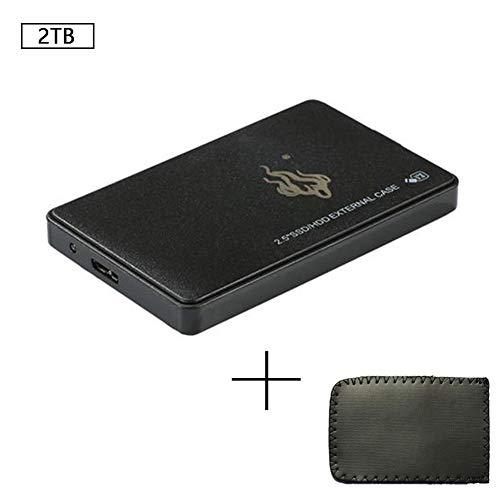 Naiqiao 2,5 pulgadas USB 3.0 2 TB SATA3 Disco duro móvil de transferencia rápida SSD de estado sólido de alta velocidad disco duro externo para PC portátil - negro