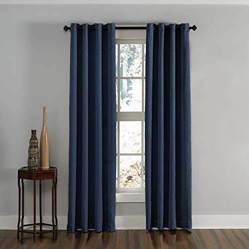 "Curtainworks Lenox Grommet Curtain Panel, 50 by 144"", Navy"