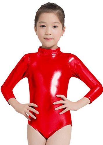 Speerise - Maillot de danza de manga larga para niñas con cuello de tortuga metálico brillante, Infantil, 77-C0333-Red-4/6, rojo, 4
