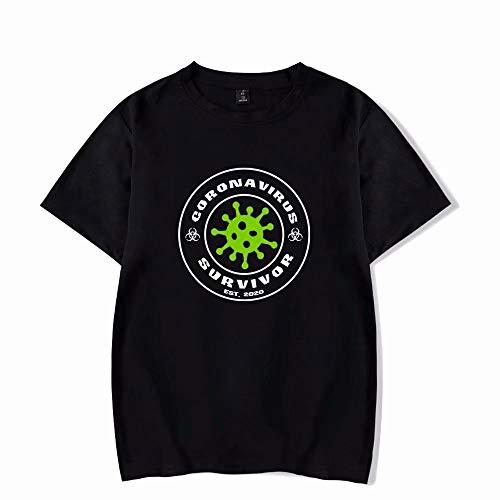 IKWO COVID-19 T-Shirt Uomo Donna T-Shirt Tinta Unita Popolare Manica Corta T-Shirt Coronavirus Stampate Virus Quarantena T-Shirt