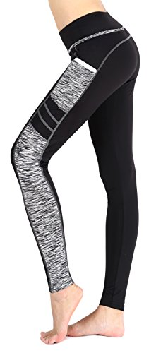 Sugar Pocket Women's Workout Leggings Running Tights Yoga Pants M (Black/Grey)