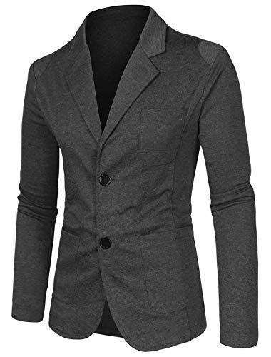 uxcell Men's Casual Sports Coat Slim Fit Lightweight Button Cardigan Knit Blazer with Pockets Dark Gray 34