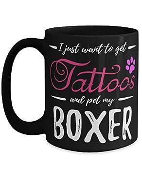 Boxer Dog Lover Tattoo Tea Cup Funny Dog Mom Idea